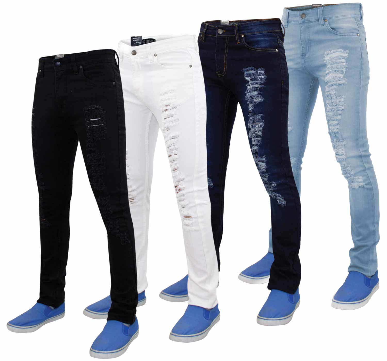 Mens G-72 Zip Fly Stretch Skinny Slim Fit Ripped Denim Jeans Cotton ...