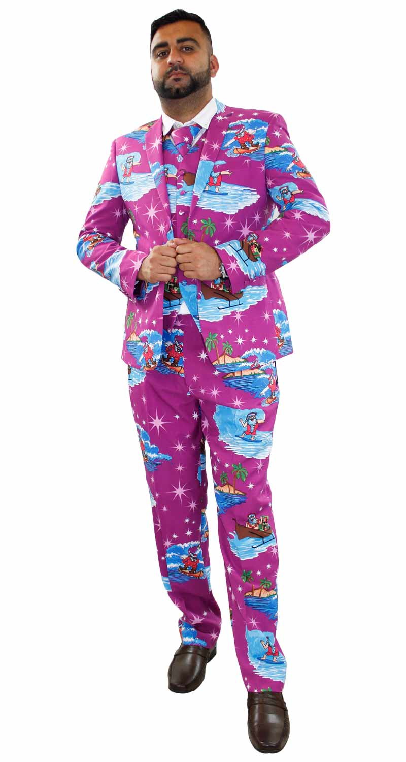 new mens christmas fancy dress novelty print deluxe festive costumes casual suit ebay - Christmas Suits For Mens